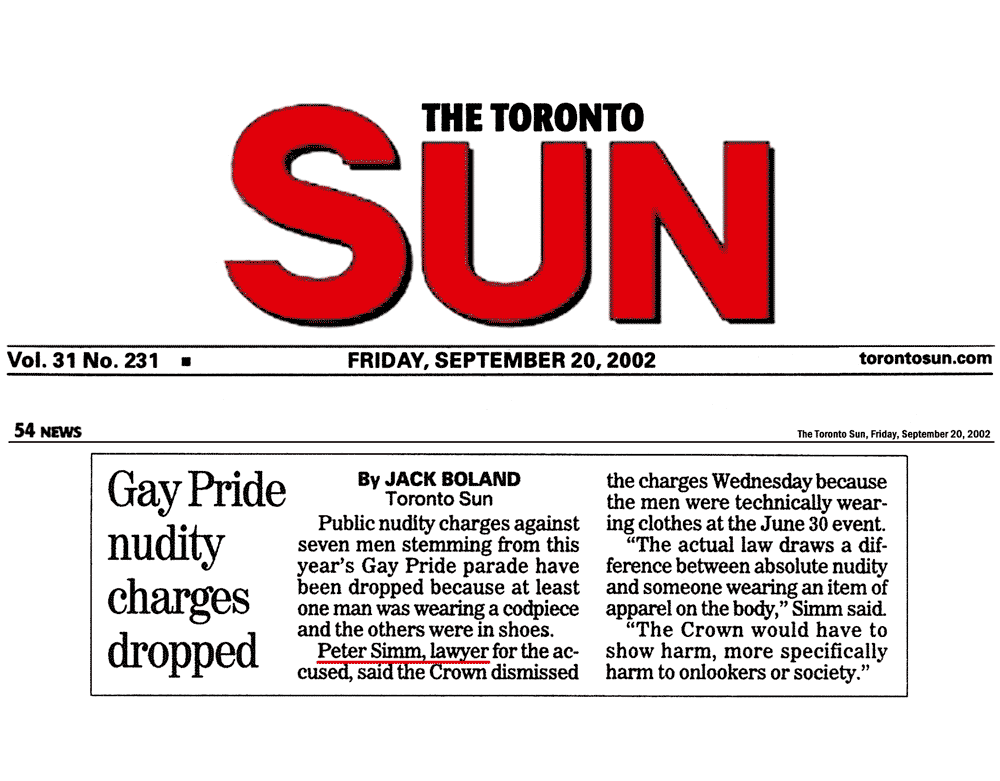 Toronto Sun 2002-09-20 - Simm convinces Crown to withdraw nudity charges against Pride marchers